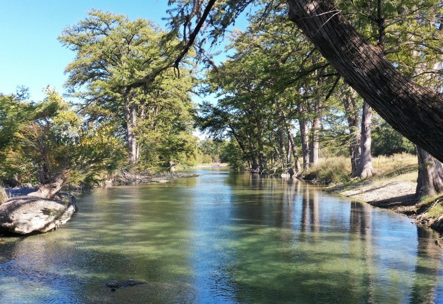 Live water river on a ranch in central Texas Hill Country