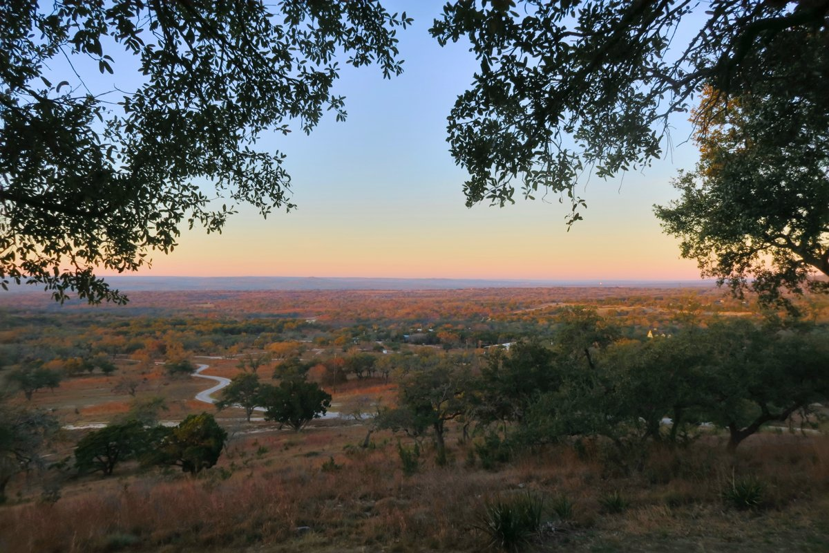 A Texas hill country evening: a view over Texas Ranch Land