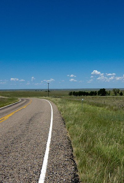 Long road in Texas South Plains region